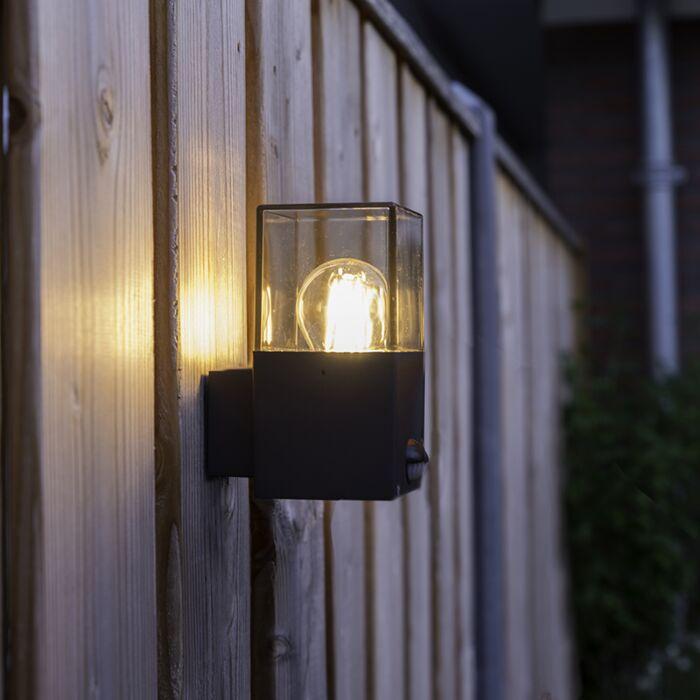 Yttervägg-ljus-mörkgrå-med-rörelsedetektor-IP44---Danmark