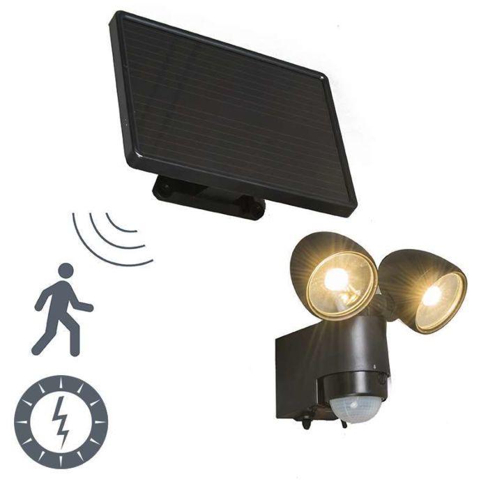 Vägglampa-med-rörelsedetektor/sensor-på-solcell-'VAP-Duo'-Moderna-svart/aluminium---LED-inkluderat-/-Utomhuslampa