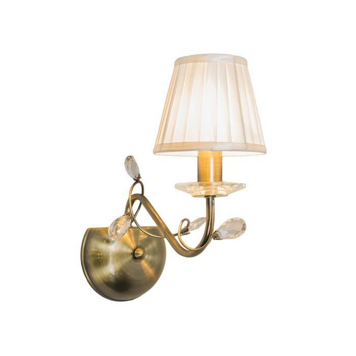 Vägglampa-med-skärm-'Ruffle-1'-Klassisk-brons---Passande-för-LED-/-Inomhus