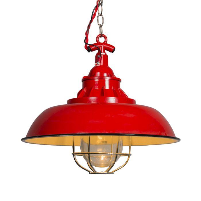 Nautisk-taklampa-'Strijp-S'-Lantlig-röd/metall---Passande-för-LED-/-Inomhus