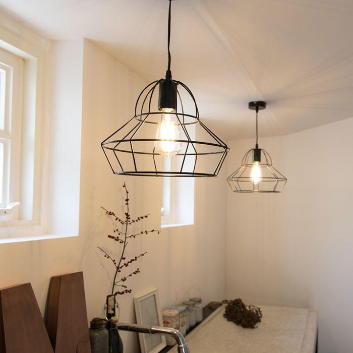 Minimalistisk-taklampa-'Frame-D'-Moderna-svart/metall---Passande-för-LED-/-Inomhus
