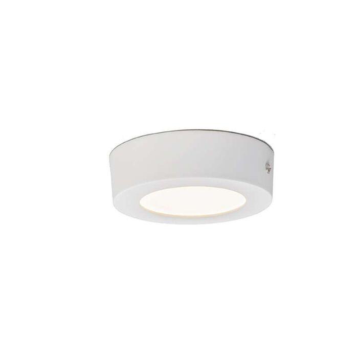 Plafond-och-vägglampa-'Plate-6W-R'-Moderna-vit/aluminium---LED-inkluderat-/-Inomhus