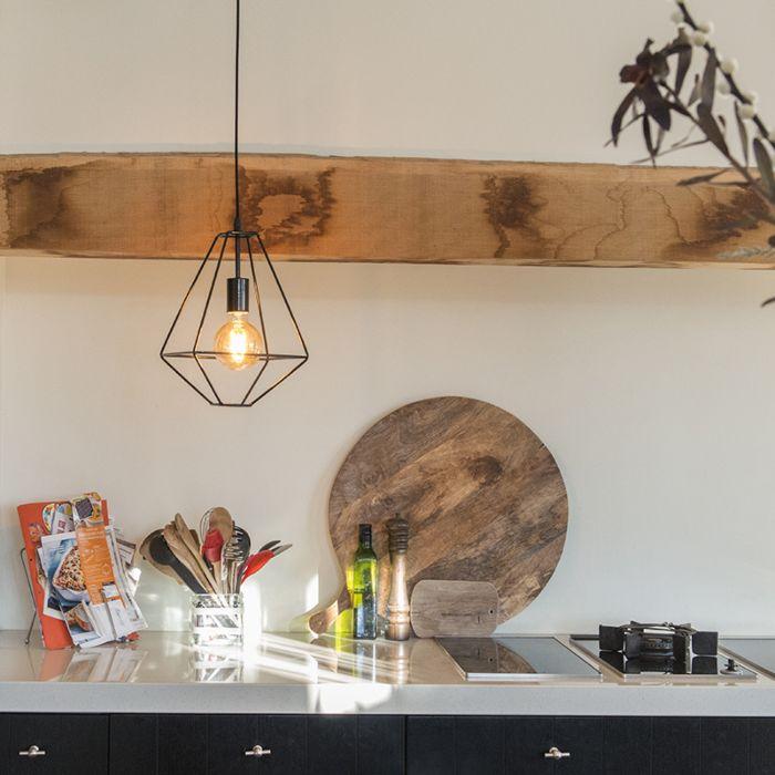 Minimalistisk-taklampa-'Frame-A'-Moderna-svart/metall---Passande-för-LED-/-Inomhus