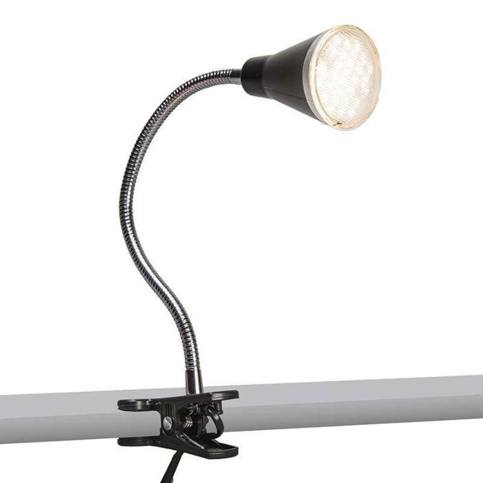 Klämlampa-'Funnel'-Moderna-svart/polyester---LED-inkluderat-/-Inomhus