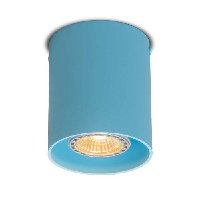 Plafond-strålkastare-'Tubo-1-R'-Moderna-blå/aluminium---Passande-för-LED-/-Inomhus
