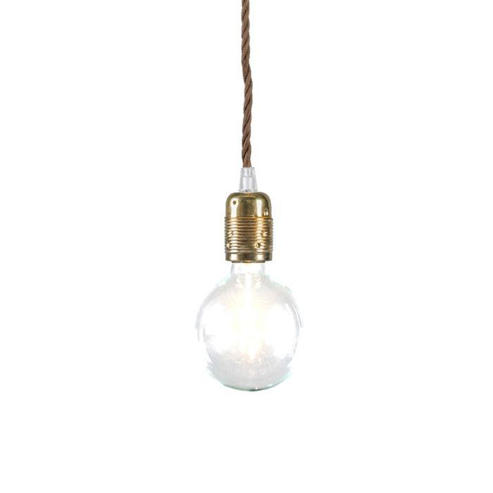 Minimalistisk-taklampa-'Cavo-Classic'-Retro-guld/tyg-Passande-för-LED