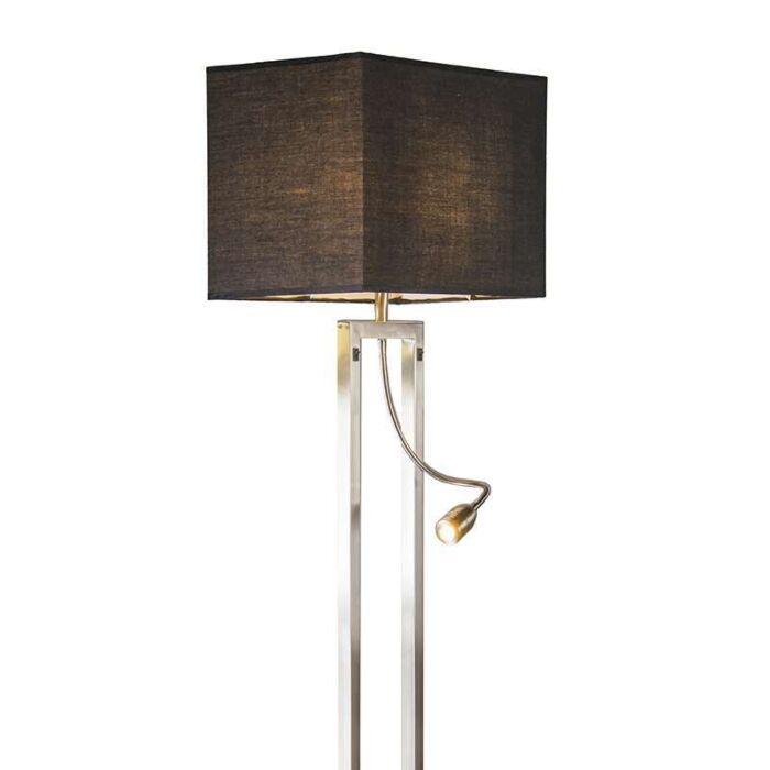 Golvlampa-med-skärm-'Bergamo'-Moderna-stål---Passande-för-LED-/-Inomhus