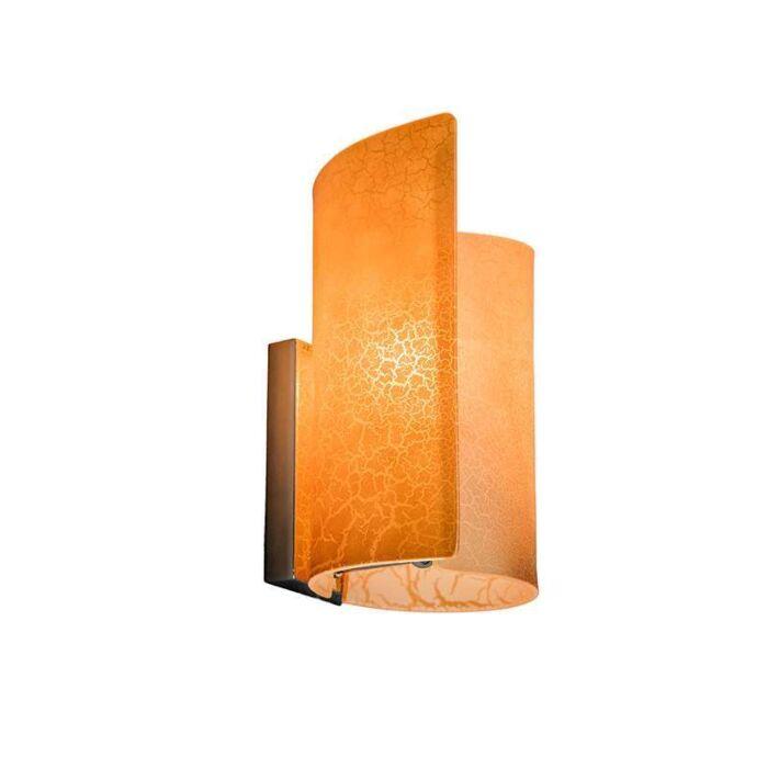 Vägglampa-'Salerno'-Klassisk-guld/glas---Passande-för-LED-/-Inomhus