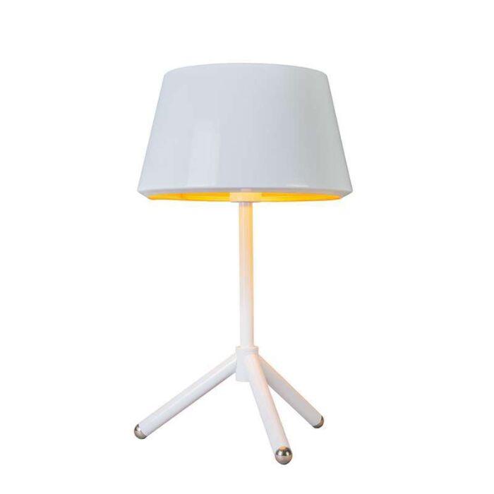 Bordslampa-med-skärm-'Vegas'-Design-vit/metall---Passande-för-LED-/-Inomhus