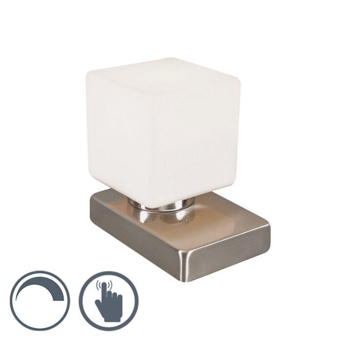 Bordslampa-med-dimmer-'Touch-Me-Q'-Moderna-vit/glas-Inomhus