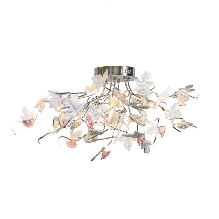 Stor-plafond-'Rosa'-Moderna-vit/metall---Passande-för-LED-/-Inomhus