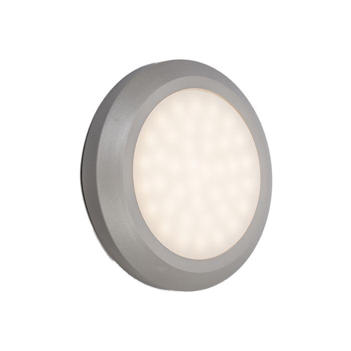Vägglampa-'Daystar'-Moderna-grå/polyester---LED-inkluderat-/-Utomhuslampa,-Inomhus,-Badrum