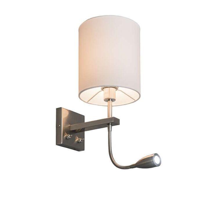 Vägglampa-med-skärm-'Brescia-R'-Moderna-vit/tyg---Passande-för-LED-/-Inomhus
