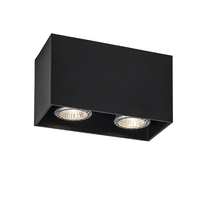 Plafond-strålkastare-'Qubo-2'-Moderna-svart/aluminium---Passande-för-LED-/-Inomhus