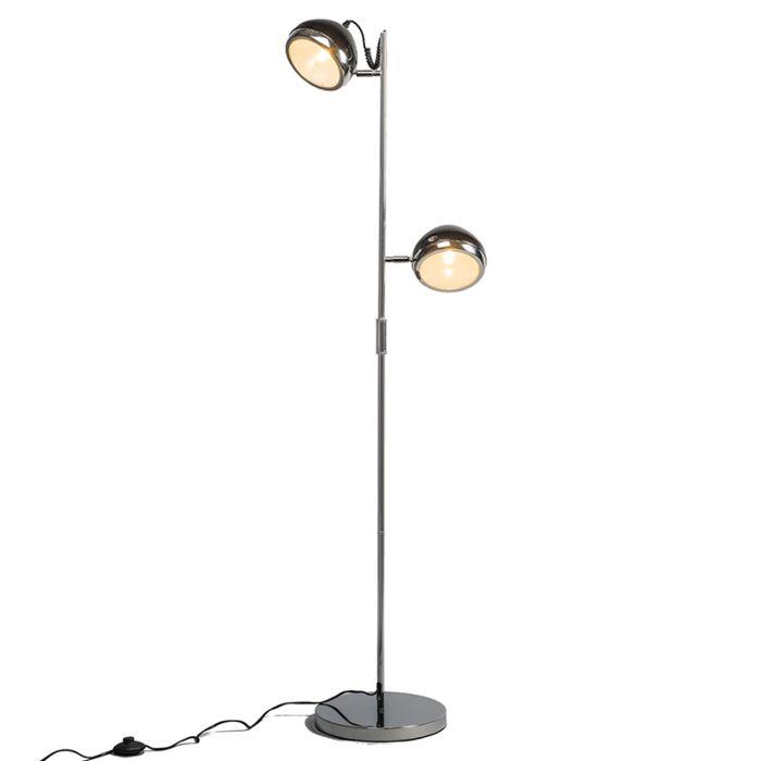 Golvlampa-'Biker-2'-Retro-svart/metall---Passande-för-LED-/-Inomhus