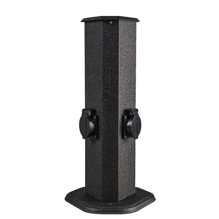 Utebelysning-med-uttag-'2-Plug'-Moderna-svart/metall-Utomhuslampa