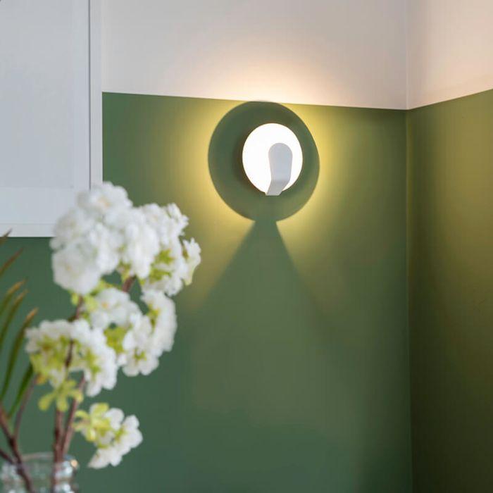 Vägglampa-'Sole-15'-Design-vit/aluminium---LED-inkluderat-/-Inomhus