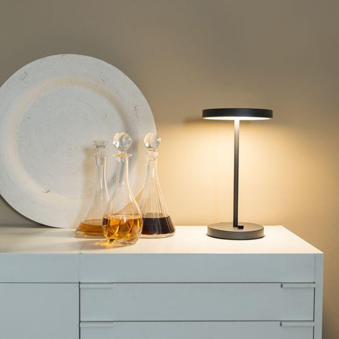 Bordslampa-med-dimmer-'TL-Disco'-Moderna-svart/metall---LED-inkluderat-/-Inomhus