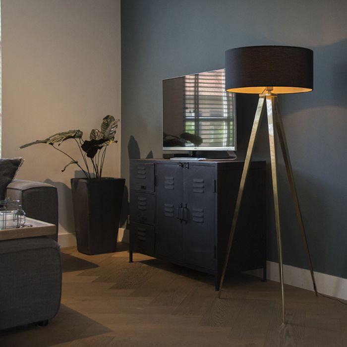 Tripod/staviv-golvlampa-'FL-Tripe'-Moderna-svart/metall---Passande-för-LED-/-Inomhus