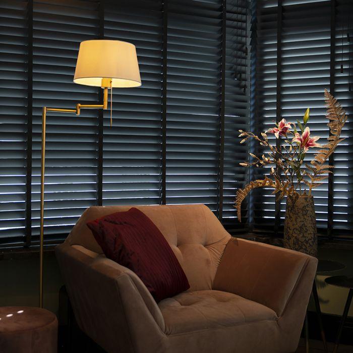 Klassisk-golvlampa-brons-med-justerbar-vit-skugga---Ladas