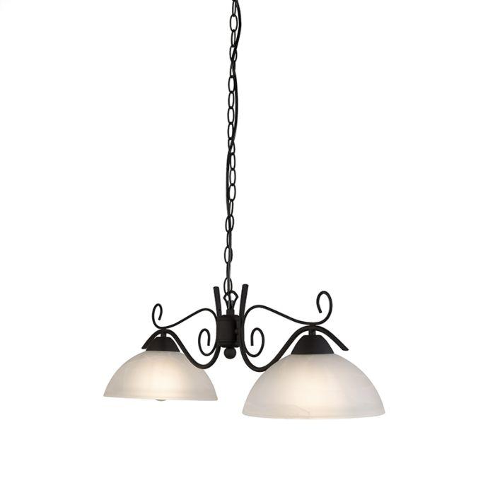 Taklampa-'Hanglamp-Dallas-2-'-Lantlig-brunrost/metall---Passande-för-LED-/-Inomhus