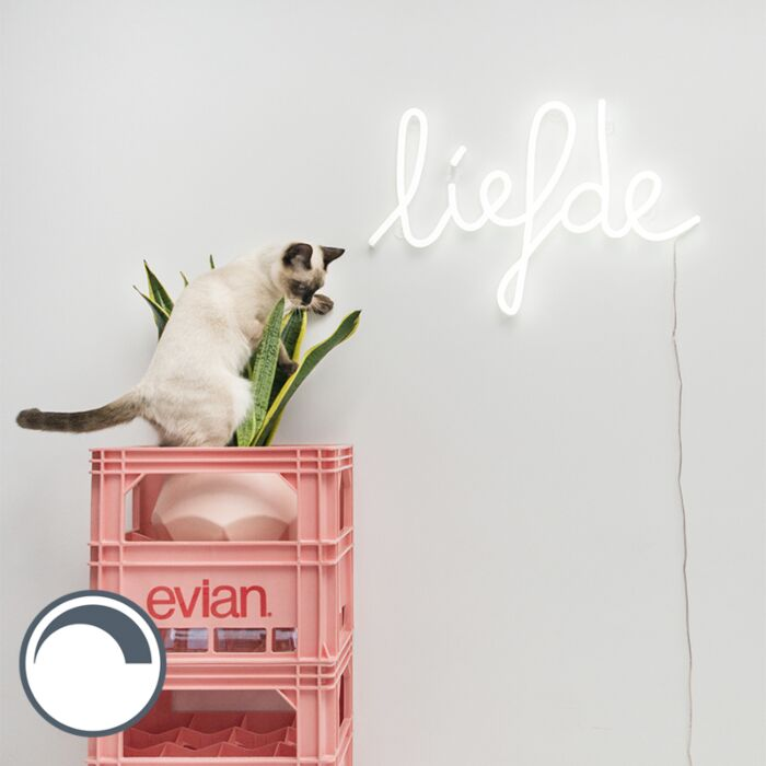 Vägglampa-vit-med-fjärrkontroll-inkl-LED---Neon-Love