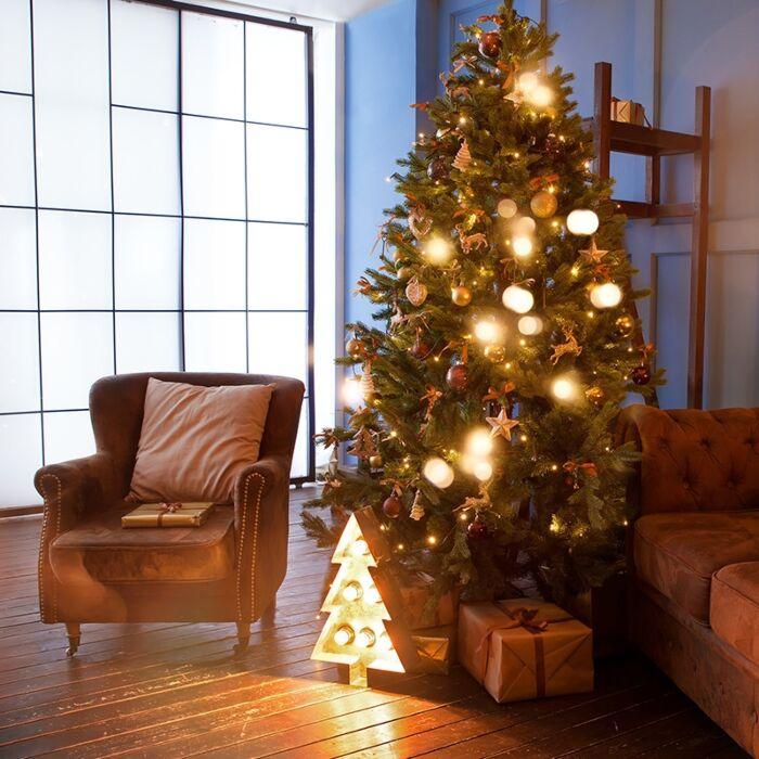 Nej-'Kerstboom-Den-LED'-Lantlig-grön/polyester-LED-inkluderat