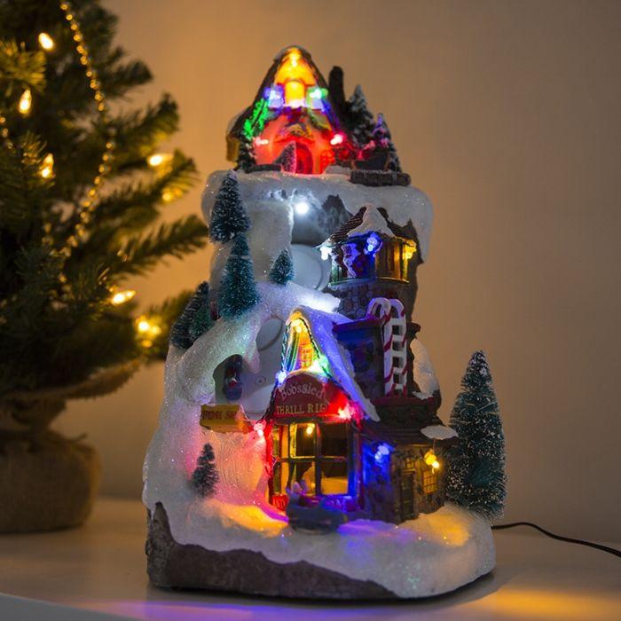 Bordslampa-'Julhus-Piste-LED-multicolor'-Lantlig-flerfärgad/polyester-LED-inkluderat