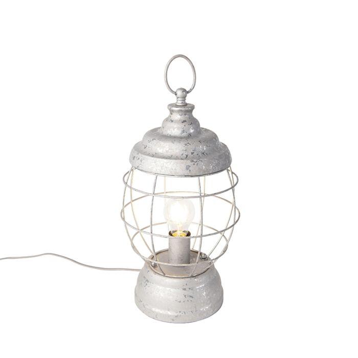 Bordslampa-'Lentera'-Lantlig-grå/metall---Passande-för-LED-/-Inomhus