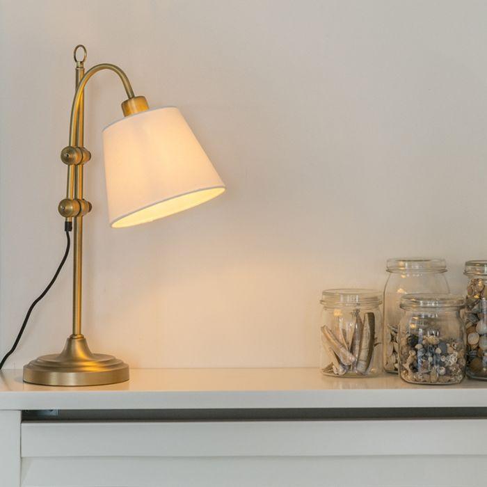 Bordslampa-'Ashley'-Klassisk-brons---Passande-för-LED-/-Inomhus