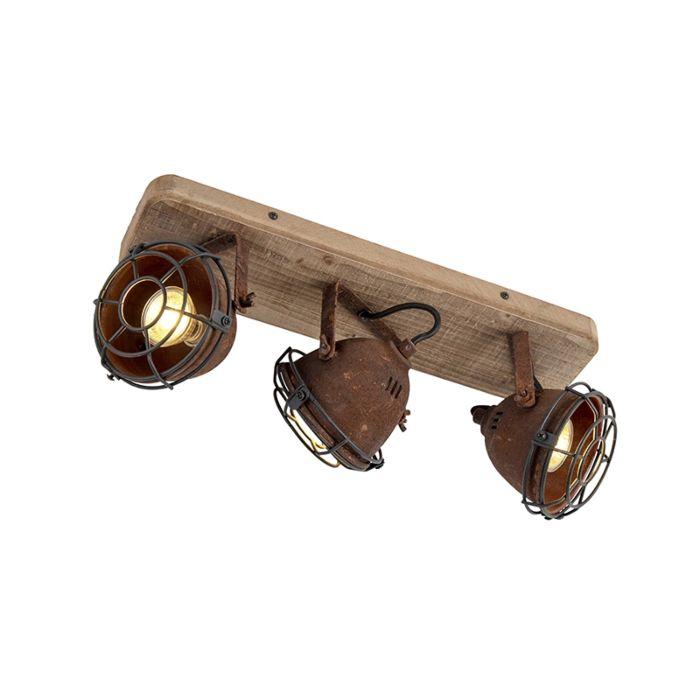 Industriell-fläck-rostbrun-med-vippbar-3-ljus-trä---Gina