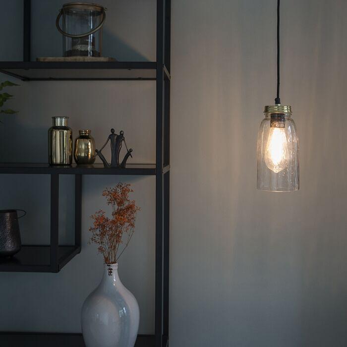 Taklampa-'Masons'-Art-Déco-guld/glas---Passande-för-LED-/-Inomhus