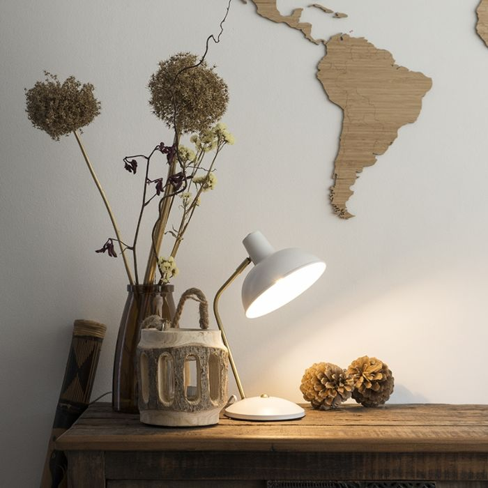 Retro-bordlampa-vit-med-brons---Milou