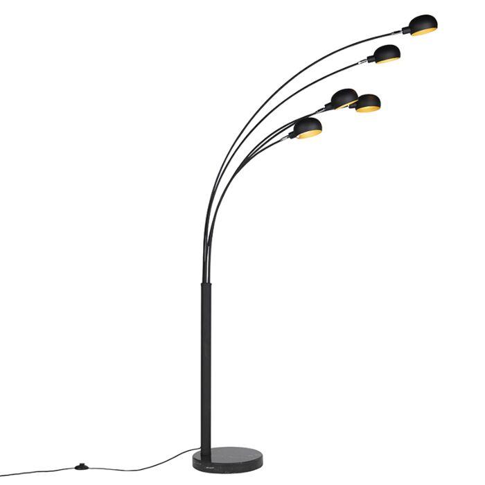 Modern-Golvlampa-Svart-5-lampor---Sixties-Marmo