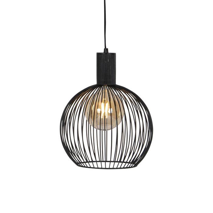 Modern-rundhängande-lampa-svart-30-cm---Tråd