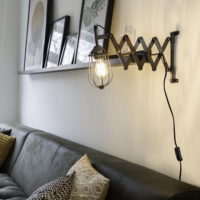 Industriell-Förlängbar-Vägglampa-Antik-Zink-med-Nätskärm---Scissors