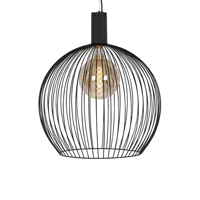 Modern-rundhängande-lampa-svart-60-cm---Tråd