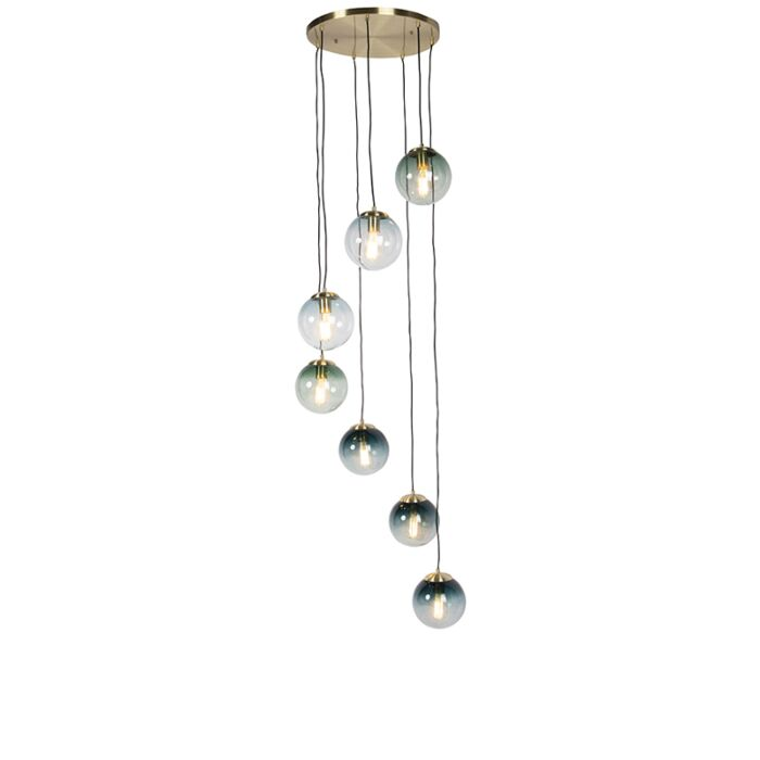 Art-deco-hängande-lampa-mässing-7-ljus---Pallon