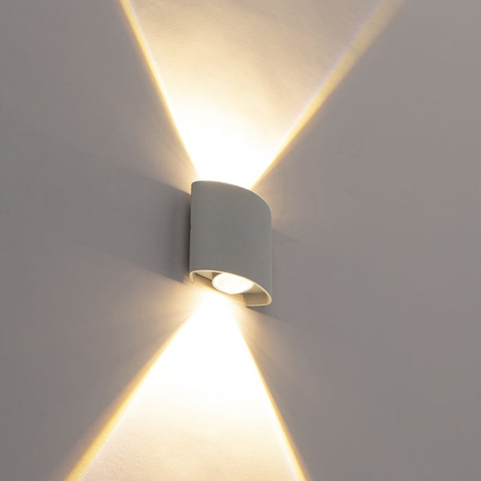 Design-utomhusvägglampa-silver-inkl.-LED-2-lampor---Dumt