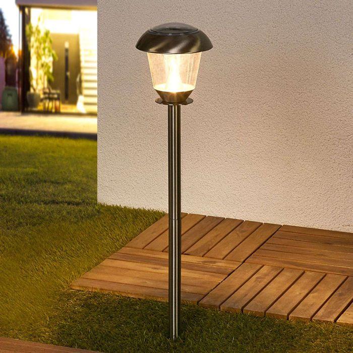 Klassisk-utomhuslampa-i-rostfritt-stål-inkl.-Soldriven-LED---Nela