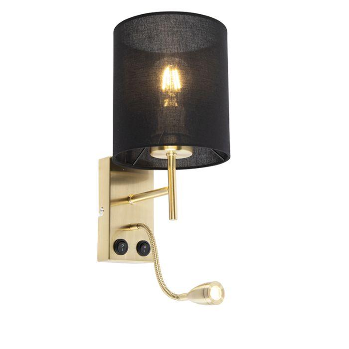 Art-Deco-vägglampa-guld-med-svart-bomullsskugga---Stacca