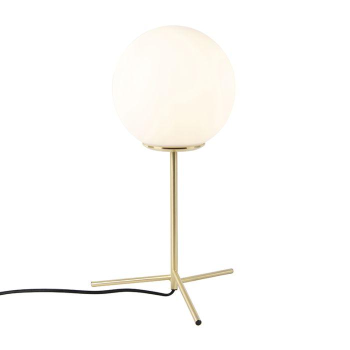Art-deco-bordslampa-mässing-med-opalglas-45,5-cm---Pallon