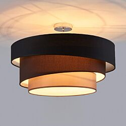 Design taklampa svart med guld 40 cm 3 lampor Cerchio i